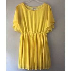 Sunny Yellow, Pleated, Flowy Sleveed Dress.